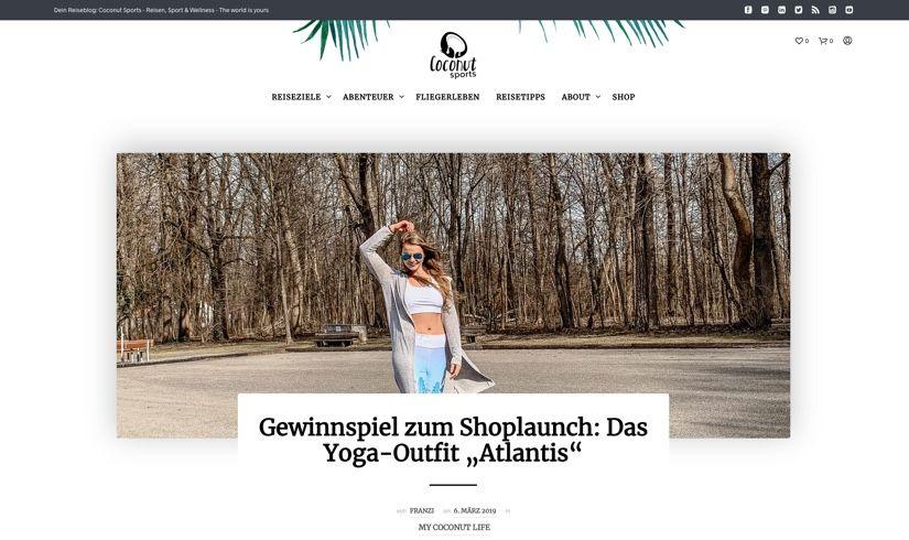 WooCommerce Webshop - Webdesign für Coconut Sports - Header