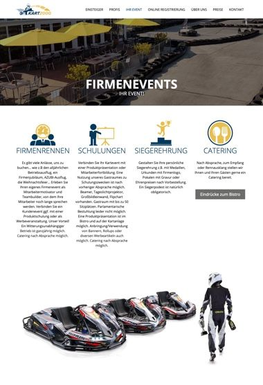 WordPress Website - Webdesign der Seite Firmenevents für KART2000