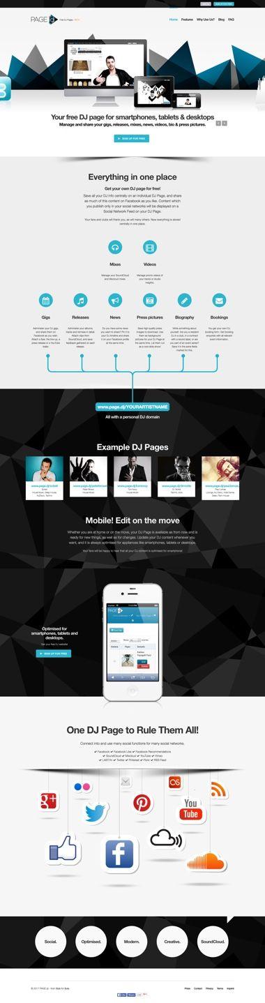 Webdesign der Startseite - Websites für DJ´s - pagedj