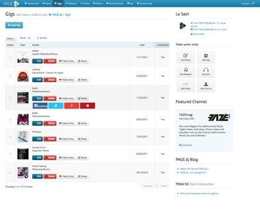 Backend-Ansicht - Datenpflege der eigenen DJ Website - Gigs - pagedj