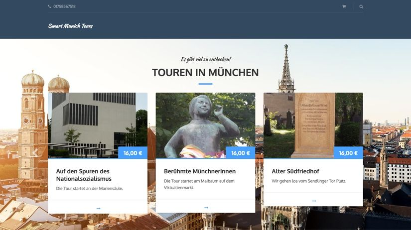 WooCommerce Webshop für Tour Buchungen - Header Design - Smart Munich Tours