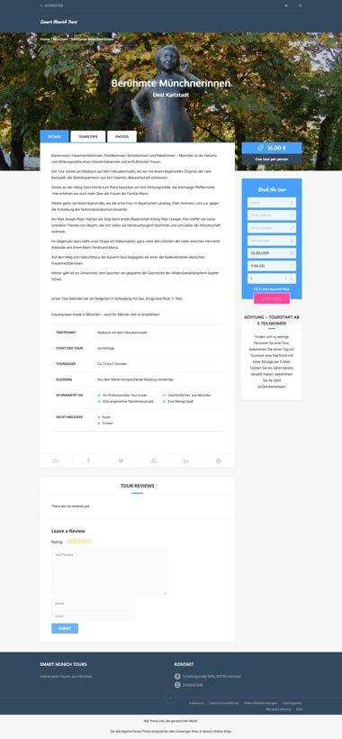 WooCommerce Webshop für Buchungen - Buchung-Detailseite - Smart Munich Tours