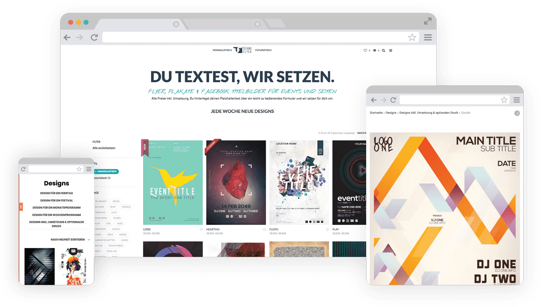 WooCommerce Webshop für Design-Service - Responsive Design - Technoflyer