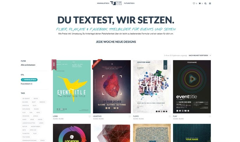 WooCommerce Webshop für Design-Service - Shopseite - Technoflyer